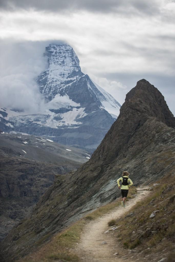 Lizzy hawker running towards the Matterhorn