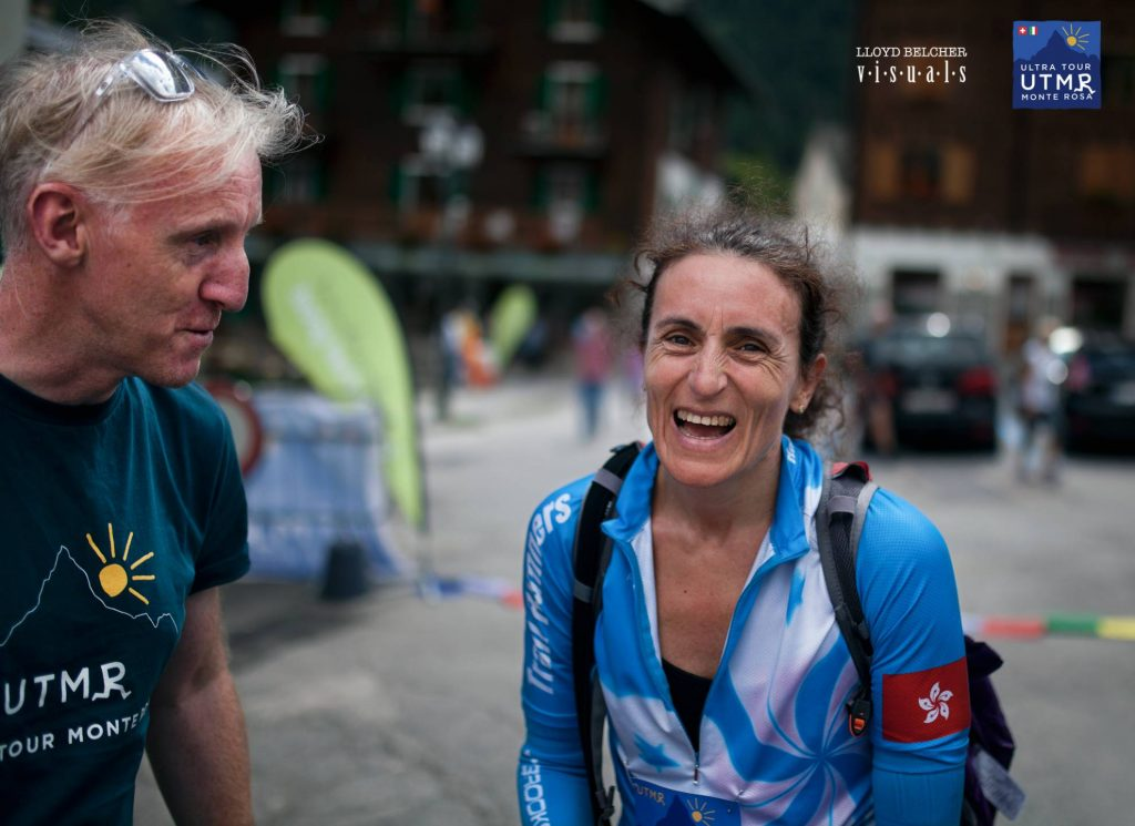 Keith welcoming a happy finisher to Macugnaga on Day 2 in 2015.