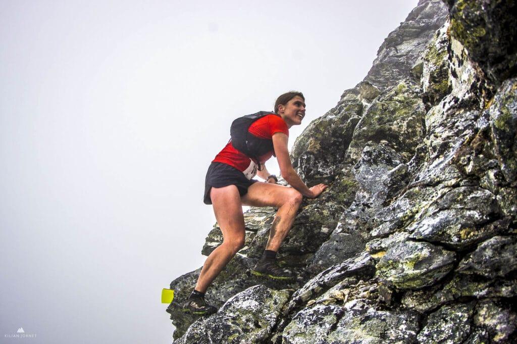Jasmin Paris climbing at Tromso Sky Race