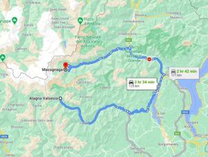 Alagna to Macugnaga map