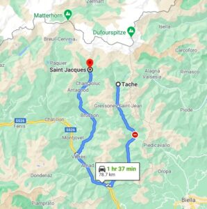 St. Jacques (Rif. Feraro) to gressoney map