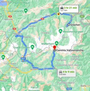 grachen to cervinia map