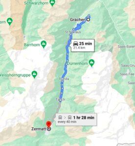 grachen to zermatt map
