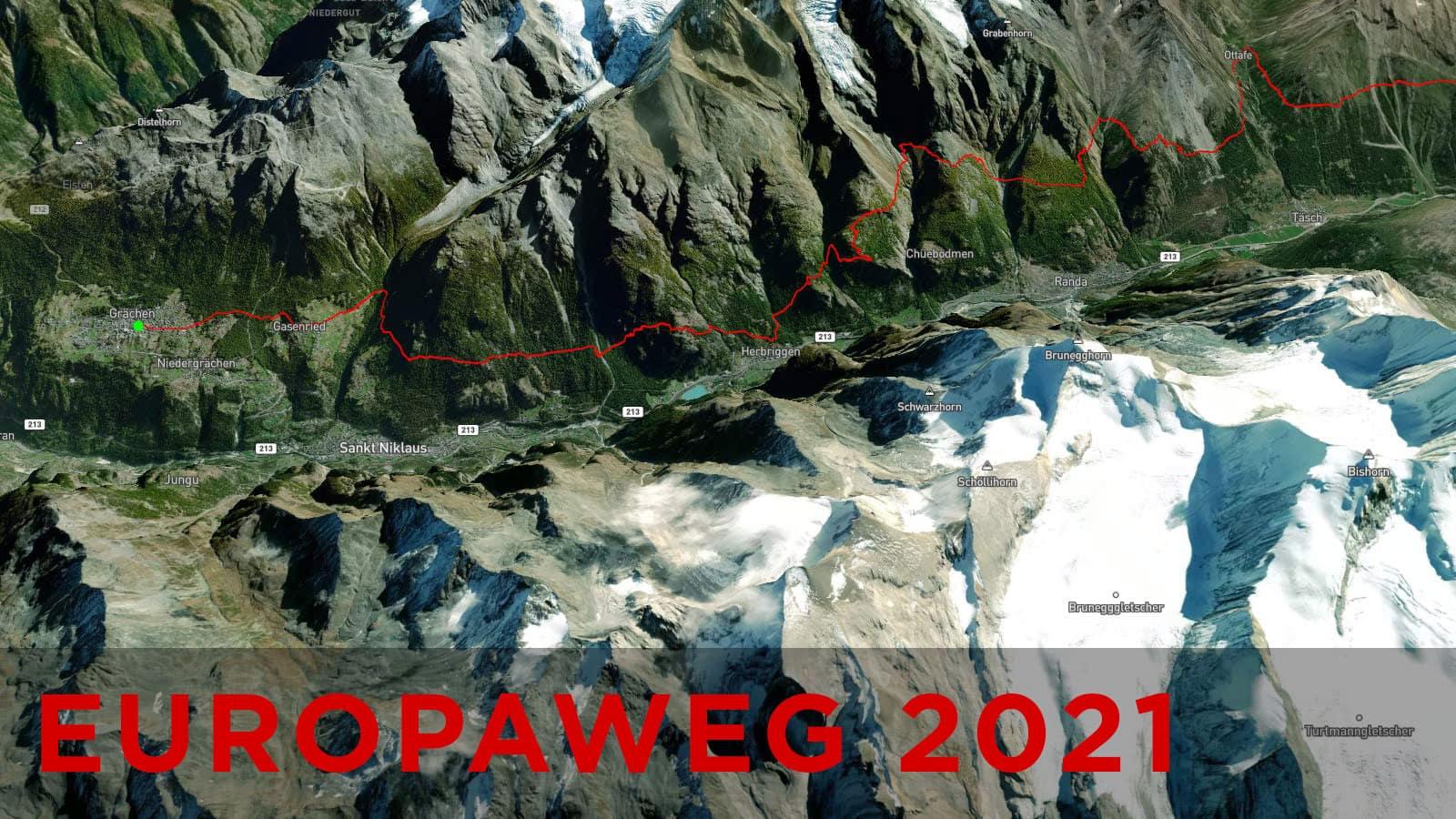Un'immagine del nuovo percorso Europaweg da Zermatt a Grachen aperto nell'estate 2021